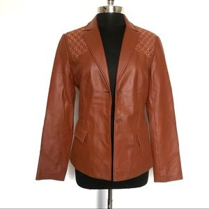 BCBCMaxazria Leather Weave Shoulder Jacket Size 8